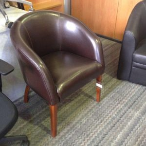 Leather Tub Chair with Wooden legs on sale
