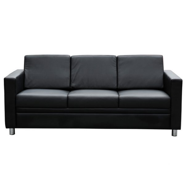 Marcus 3 seater lounge black leather