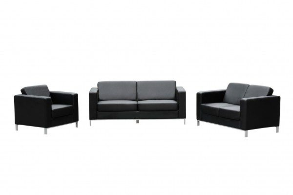 Marcus Lounge Seats single, double and triple black leather