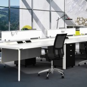 Diamond Double Sided Bench with Screens, Modesty Panels, Mobile Panels and Cable Management System