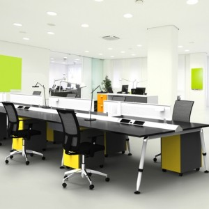 Flux Double Sided Bench with mobile pedestals, screens and cable management system