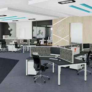Plaza 120 degree workstations with Ergotek 30 Screens