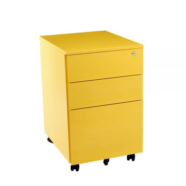 yellow mobile drawers
