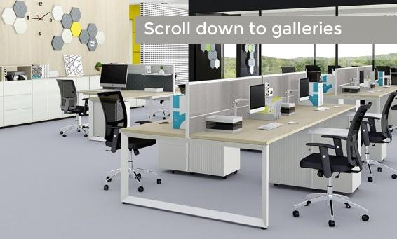 Open plan office desks