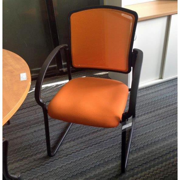 Jordan visitor chair orange mesh floorstock sale clearance