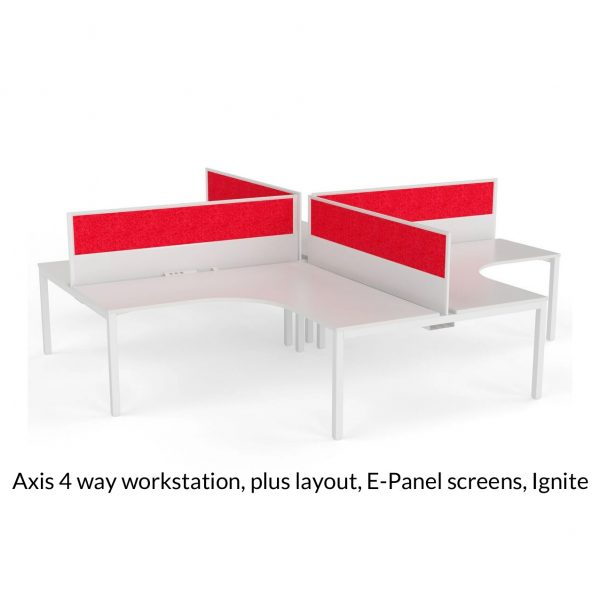 Axis Shared 90 Degree Workstation Plus Layout E-Panel screens Ignite red