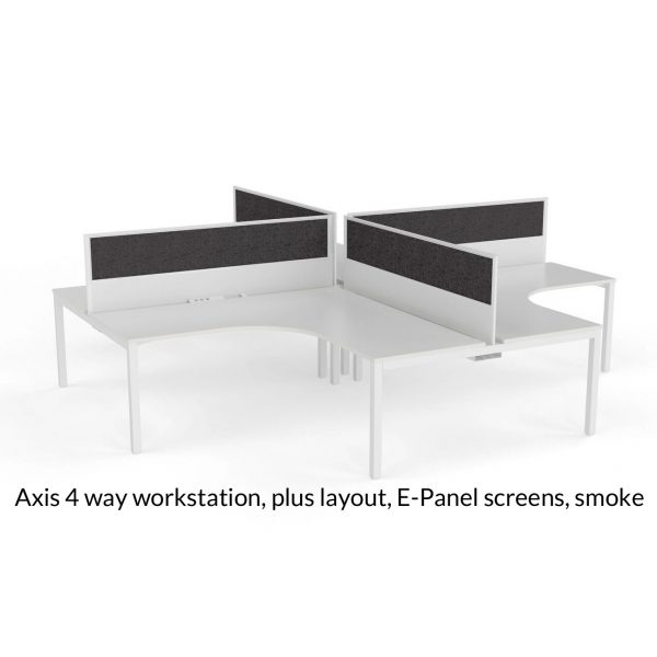 Axis Shared 90 Degree Workstation Plus Layout E-Panel screens smoke charcoal