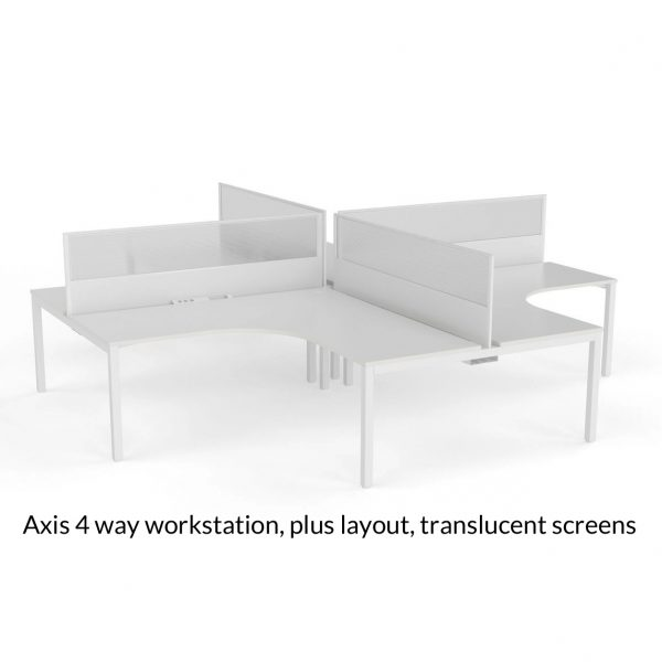 Axis Shared 90 Degree Workstation Plus Layout Translucent