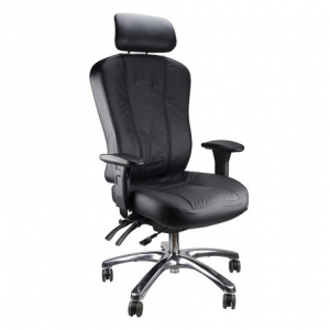 Multiform black leather high back chair