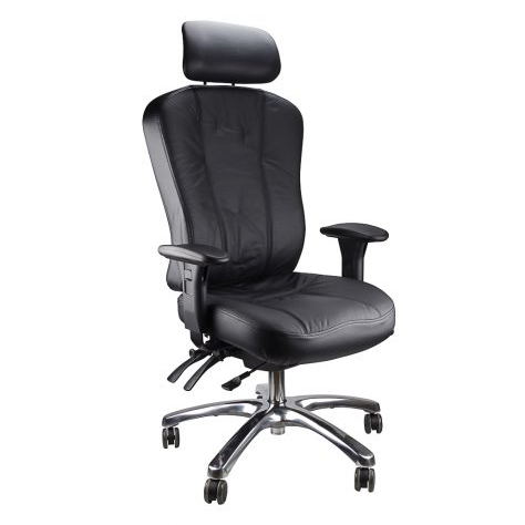Multiform High Back Ergonomic Chair, Black Leather