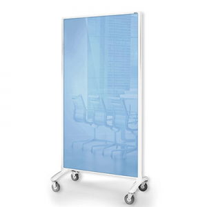 Visionchart Communicate Room Divider Blue Glassboard / Grey Pinnable