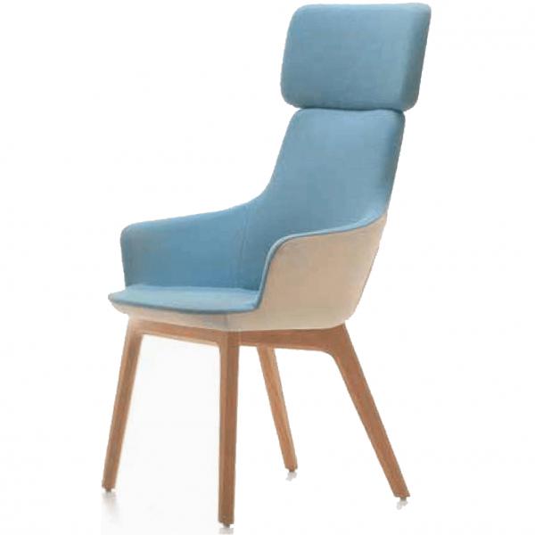 Hendrix Mini High Back Chair Wooden Base